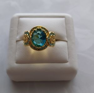 Gold Tone Blue CZ Ring